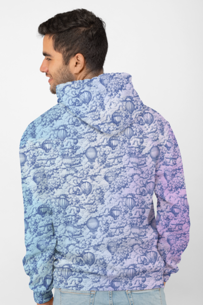 Head in the clouds - back of unisex hoodie with inner liner