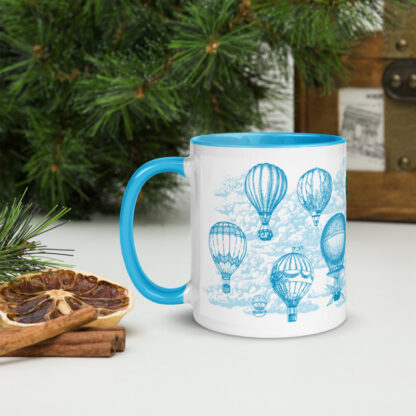 Head in the clouds - mug - back view with customizable hot air balloon drawings and clouds