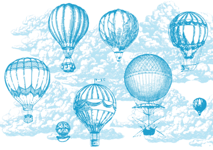 Head in the clouds mug design featuring six customizable balloon drawings and text treatment