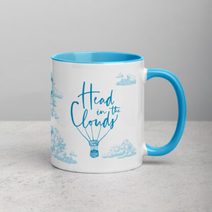 Head in the clouds - mug - front view with hot air balloon typography